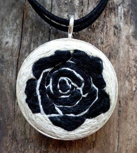 Embroidered black rose necklace kathy halper art embroidery embroidered black rose necklace aloadofball