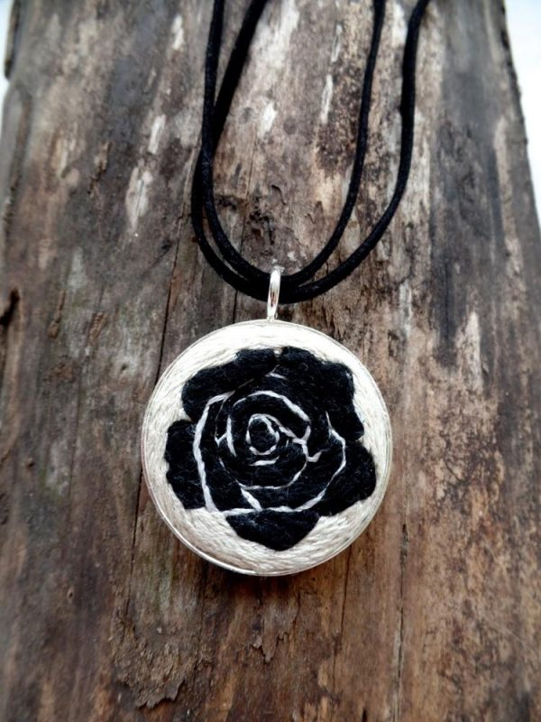 Embroidered Black Rose Necklace