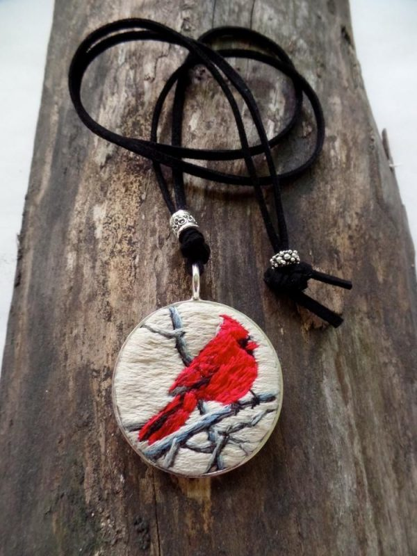 Embroidered Cardinal Necklace
