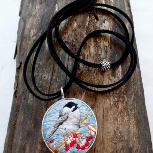 Embroidered Chickadee Necklace