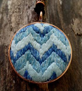 Embroidered Blue Denim Chevron Necklace