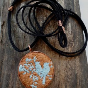 Turquoise & Rust Lovebirds Hand Embroidered Pendant