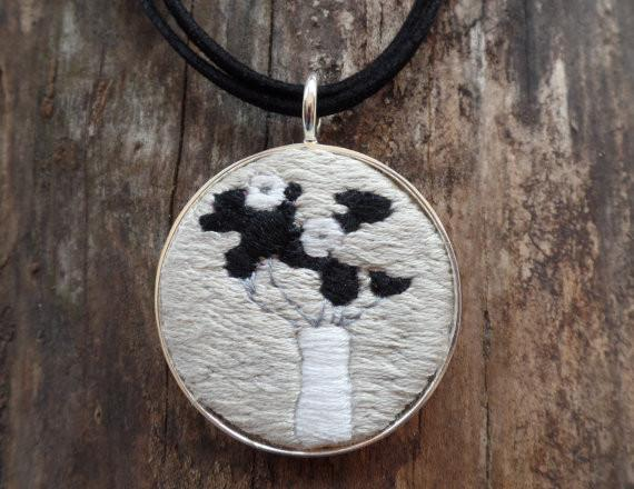 Embroidered Black and White Abstract Flower Necklace