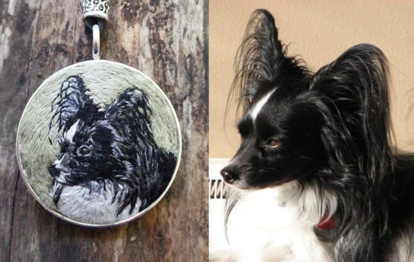 A Custom Hand Embroidered Pet Portrait Necklace