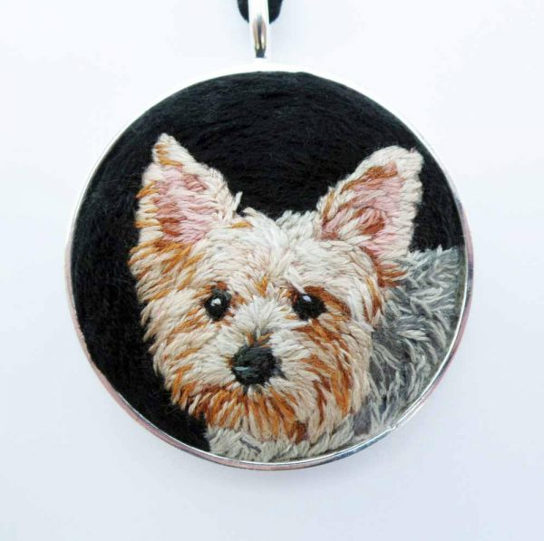 Custom Yorkie Dog Portrait Necklace