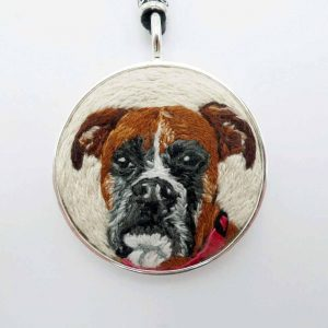 Custom Boxer Portrait Embroidered Necklace