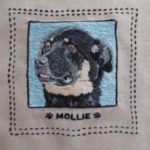 Custom Pet Portrait Embroidered Pillow