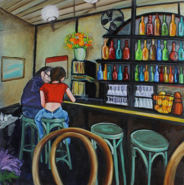 Travel-oil-painting-brooklyn-cafe-hipster-couple-at-bar