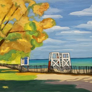 Gouache-landscape-evanston-lake-michigan-beach-with-lifeguard-chairs