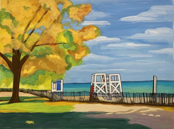 Gouache-landscape-evanston-lake-michigan-beach-with-lifeguard-chairs