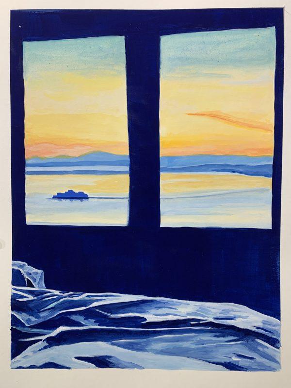Goauche-landscape-washington-state-ferry-boat-out-window