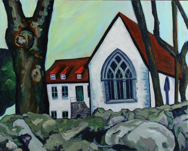 Travel-landscape-painting-red-roofed-church-Norway-in-folk-art-style