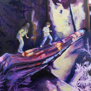 oil-painting-travel-california-redwood-forest-children-climbing-branch-purple