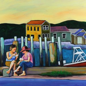Travel-art-cape-cod-pier-oil-painting-two-ladies-with-ice-cream
