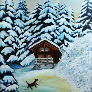 Narrative-art-travel-mountains-snowy-cabin-dog